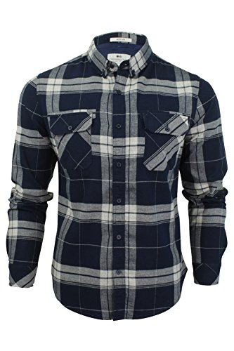 crosshatch-mens-mitty-checked-long-sleeved-shirt-dress-blues-small