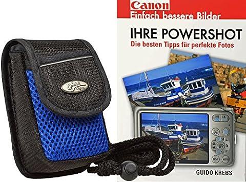 Progallio Foto-Tasche ADVENTURE MAYLIS schwarz-blau plus Fotobuch Canon Powershot