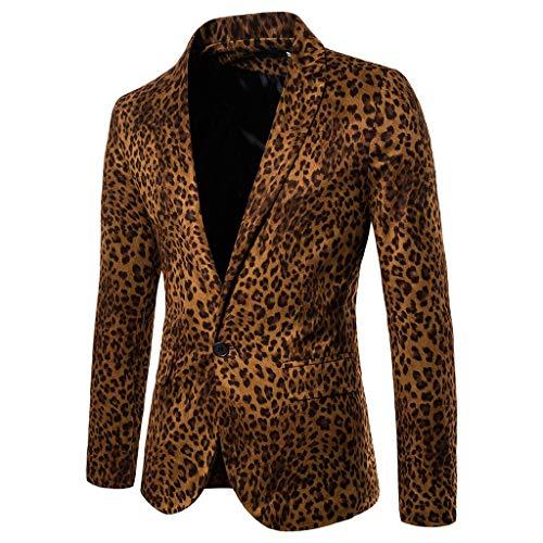 JackRuler Persönlichkeit Herrensakko Vintage Leopard Business Anzugjacke EIN Knopf Sakko,Gentleman Smokingjacke Blazer Bankett Anzüge Mantel Anzug Suit Coat Outwear für Hochzeit Party Casual -