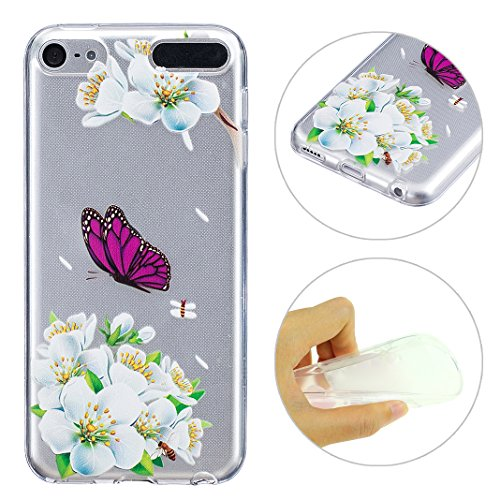 Schutzhülle iPod Touch 5G / 6G Generation Case, iPod Touch 5th Hülle Handyhüllen, iPod Touch 6th Hülle Silikon Cover, Relief-Design, Moon mood® Purple Butterfly Relief Soft Schutzhülle für Apple iPod Touch 5/6 Hülle Ultra Thin Dünn Weiche TPU Schutz Etui Cover, iPod Touch 5 6 Hülle Backcover Soft Etui Painted Muster Zurück Hülle Schale Tasche Protective Skin Handyhülle Abdeckung (Ipod Touch 5g Smart Case)