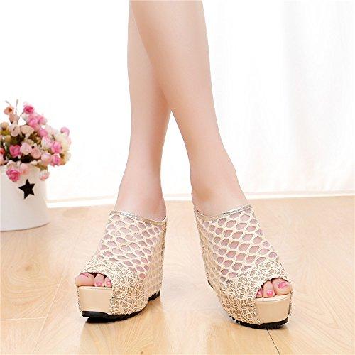 ZYUSHIZ Sandalen Hausschuhe Sommer Frau Outdoor minimalistischen Ding Schuhe Beige