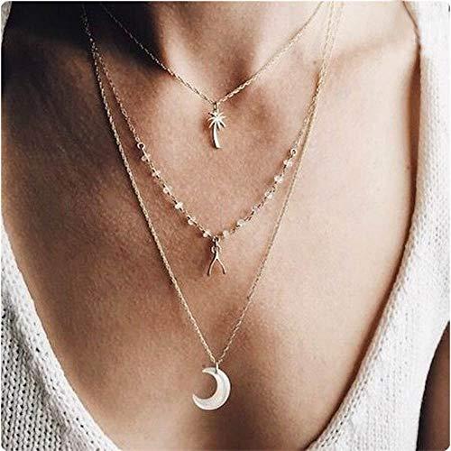 i - Layer - Halskette mit Kokospalme und Mond Anhänger für Frauen und Mädchen (Gold) ()