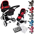 TecTake 3 en 1 Sillas de paseo coches carritos para bebes convertible - disponible en diferentes colores -