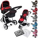 TecTake 3 en 1 Sillas de paseo coches carritos para bebes convertible - disponible en diferentes colores - (Rojo-Negro | no. 400975)