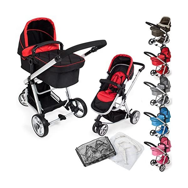 TecTake 3 in 1 Pushchair stroller combi stroller buggy baby jogger travel buggy kid's stroller -different colours- (Red/Black)  Aluminium frame | mosquito net Collapsible to a compact size for space-saving transport 5-point safety harness, Safety bar 1