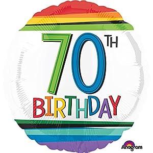 Amscan International-Globo en forma de 3443801cumpleaños 70, arco iris