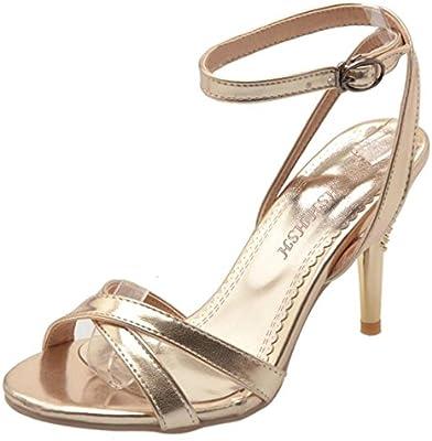 COOLCEPT Mujer Moda Al Tobillo Criss Cross Strappy Sandalias Boda Fiesta Zapatos