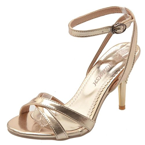 COOLCEPT Damen Mode-Event Ankle Strap Criss Cross Strappy Sandals Wedding Party Shoes Gold