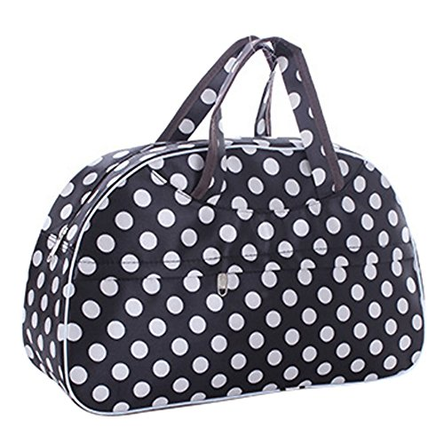 Sac - TOOGOO(R)Mode etanche Oxford Femmes sac blanc Dot avec fond noir Sac de Voyage Grand bagage a main en toile Sacs