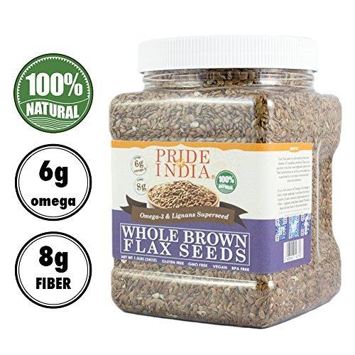 Pride Of India ganze braune Leinsamen Omega-3 & Lignan Supernahrungsmittel, 2,75 Pfund (44 Unzen) jar