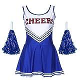 SODIAL(R)Maedchen Frauen Sexy aermel Cheer Cheerleader Kostuem XS 28-30 Fussball Kleidung - Blau -
