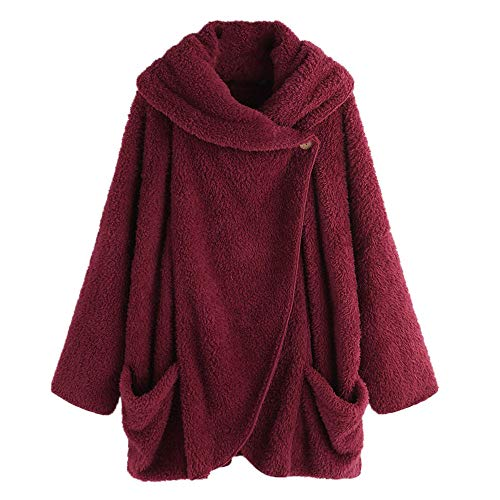 (iHENGH Damen Herbst Winter Bequem Mantel Lässig Mode Jacke Frauen Winter Fleece Langarm Button Down Flanellhemd Bluse Cardigan)