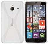 kazoj Schutzhülle Microsoft Lumia 640 XL Hülle im X-Design aus TPU in Transparent Weiss