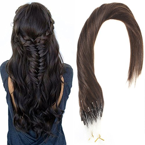 Sunny loop micro ring remy capelli extensions 50 strands darkest marrone (col 2) hair extensions 18