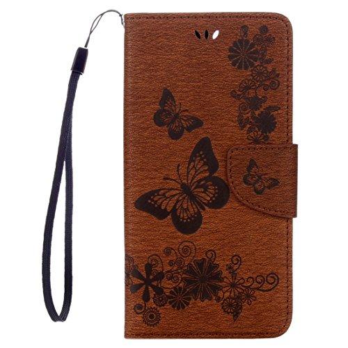 Hülle für iPhone 7 plus , Schutzhülle Für iPhone 7 Plus Blumen Prägung Horizontale Flip Leder Tasche mit Halter & Card Slots & Wallet & Lanyard ,hülle für iPhone 7 plus , case for iphone 7 plus ( Colo Brown