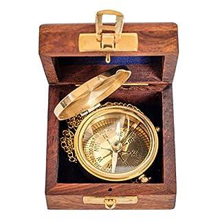Compass with wooden box maritim ship decoration navigation brass antique style