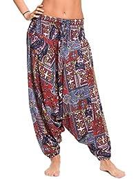 ufash Pantalones de harén hechos de 100% viscosa con cintura elástica - muchos diseños diferentes