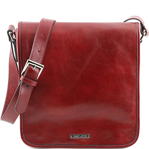 Tuscany Leather TL Messenger - Borsa a tracolla 1 scomparto Nero Cartelle in pelle Rosso