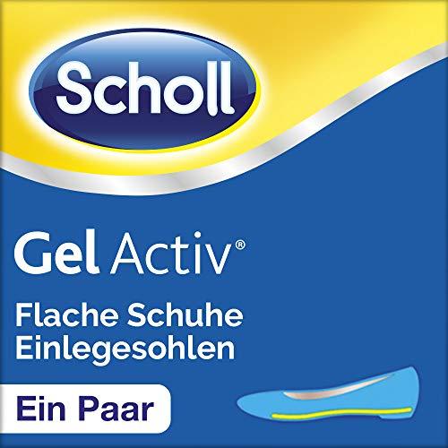 Scholl GelActiv Einlegesohlen für flache (schmale Schuhe von 35-40,5, Polsterung und Stoßdämpfung unter den Fersen, selbstklebende Gelsohlen) 1 Paar