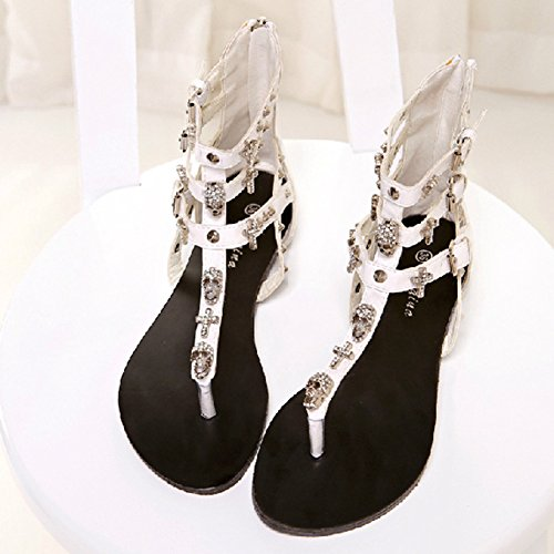 Femme Chaussures De Plage Sandales Plate Roman Perlées Chaussures Accessoires De Vacances Blanc