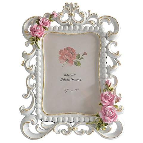 Giftgarden 13x18 Bilderrahmen mit Perlen und Rosen weiß Rahmen Fotorahmen schöne Dekoration