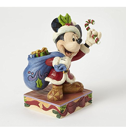 Enesco Disney Tradition By Jim Shore Mickey Babbo Natale Sulla Slitta, Pvc, Multicolore, 12x13x15 cm - Enesco Natale