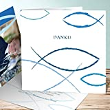 Dankeschön Kommunion, Bedeutung 5 Karten, Quadratische Klappkarte 145x145 inkl. weiße Umschläge, Blau