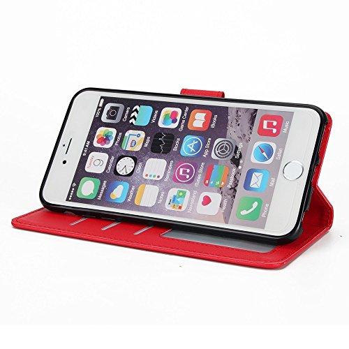 Klassische verkaufte Farbe PU-lederne Beutel-Kasten-Abdeckung, Bookstyle Folio-Standplatz-Mappen-Kasten mit Einbauschlitzen u. Lanyard für iPhone 6 u. 6s ( Color : Red ) Red