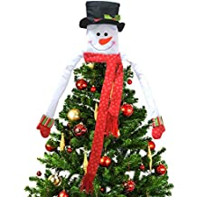 Deggodech Árbol de Navidad Topper Hugger Sombrero de Copa de Muñeco de Nieve Grande Navidad Ornamento