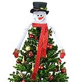 Deggodech Árbol de Navidad Topper Hugger Sombrero de Copa de Muñeco de Nieve Grande Navidad Ornamento para la Decoración del Árbol de Navidad Top Supplies (Small)