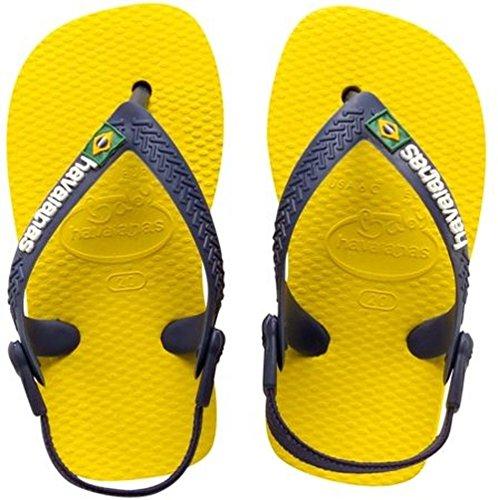 Havaianas Kinder Flip Flops Baby Brasil Logo Grösse 22 EU (20 Brazilian) Citrus Gelb Zehentrenner für Kinder
