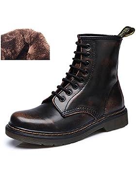 uBeauty Damen Martin Stiefel Flache Boots Klassischer Stiefeletten Schnüren Freizeitschuhe