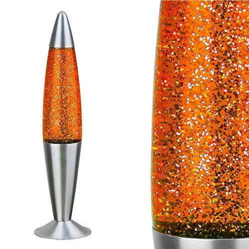 Große GLITTER-Lavalampe Lavaleuchte Glitzerlampe ORANGE GELB ROT - METALL GLAS