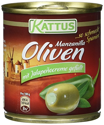 Kattus Spanische grüne Oliven, mit Jalapeñocreme gefüllt, 8er Pack (8 x 200 g)