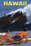 Hawaii Surfing The Big Wave Vintage Travel Kunstdruck (45,72 x 60,96 cm)