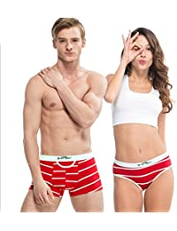 HÖTER® Klassische schwarze u. Weiße Streifen-Baumwollpaar-Geliebt-Unterwäsche Mens Boxer-Frauen-Schriftsatz