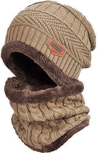DUSISHIDAN Beanie Mütze mit Loop Schal Set, 2 in1 Strickmütze Kaschmir Mütze und Loop Gestrickt Schal, Unisex Einheitsgröße Winter Set - Beige