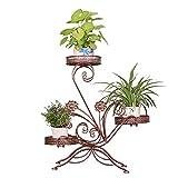 Blumenständer für 3 Blumentöpfe, 3 Etagen, dekoratives Design, Metall, Garten/Terrasse (Bronze)