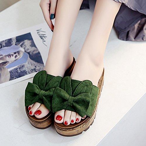 RUGAI-UE Al di fuori di moda usura raffreddare pantofole donne estate pantofole Calzature Donna Green