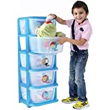 Ransh Baby Drawer 5 Level Adjustable For Toys And Clothes Blue/Multicolor (Color May Vary As Availability)
