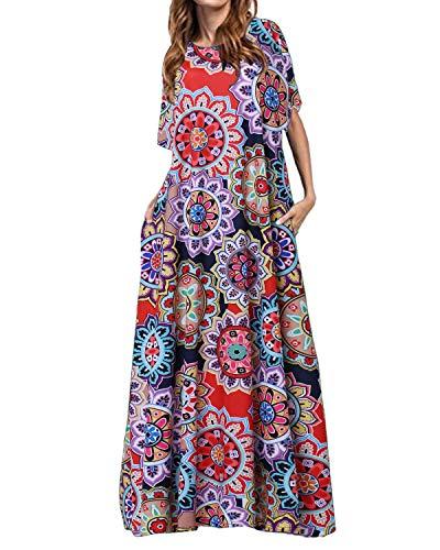 Kidsform Sommerkleid MaxiKleid Blumen Lange Kleid Sommer Strandkleid Großen Größen Blumen rot EU 36/Etikettgröße S - Kleid Valentinstag-formale
