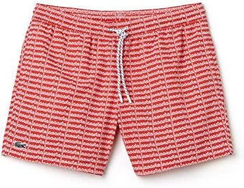 Lacoste Men's Men's Red Swimshorts With Lettering Polyamide