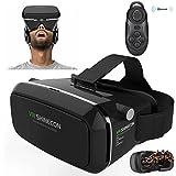 """con controlador Bluetooth, seguro 360 grados Gafas de realidad Virtual 3D VR Google Cardboard 3D para videojuegos, compatible con 3.5-6.0"""" Android y Apple Smartphones"""
