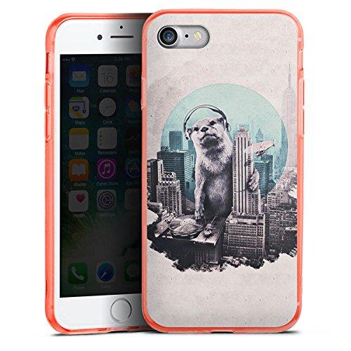 Apple iPhone 8 Silikon Hülle Case Schutzhülle Otter Stadt City Silikon Colour Case neon-orange