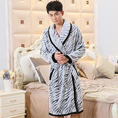 LJ&L Coppia Traspirabilità lingerie flanella comodità accappatoio pigiami moda maniche lunghe di servizio a casa sciolto,Ms,XL Men