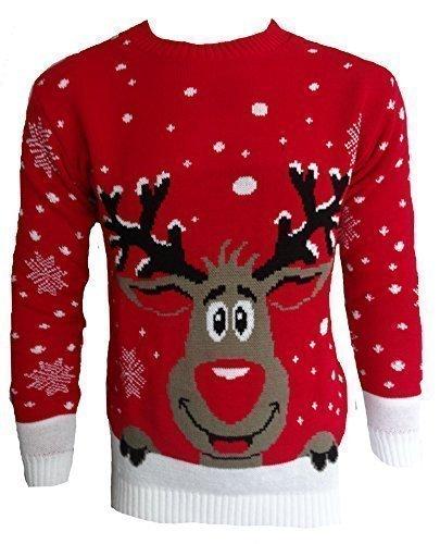 Herren Damen 3D Rudolph Rentier Elfen Weihnachten Neuheit Pullover Stricktop - ROT HOCH RENTIER, ()