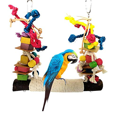 Baiansy, trespolo in Pelle Colorata per pappagalli, Giocattolo da Masticare e Corda di Cotone, Grande Altalena per Uccelli