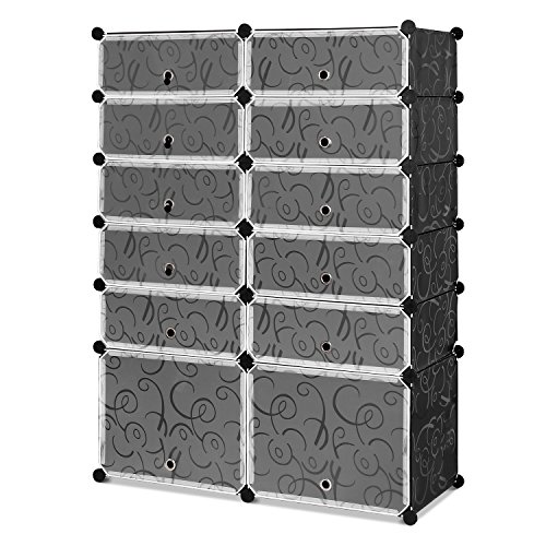 Homfa Schuhregal Schuhschrank Regalsystem Kunststoff 6 Ebenen DIY Schrank 91x36x125cm