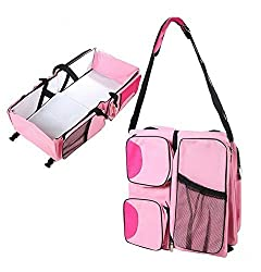 Cuddle Baby Covertible Diaper Basinett Travel Bag (Pink)