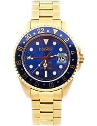 Nautec No Limit Deep Sea - Reloj analógico de caballero automático con correa de acero inoxidable dorada - sumergible a 200 metros